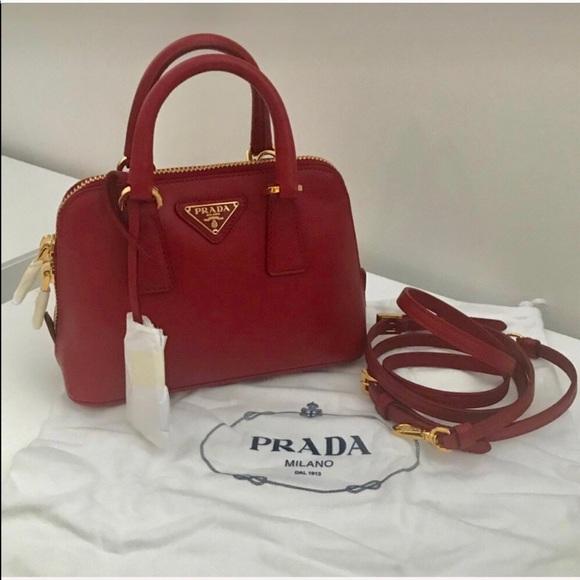 281a7ba2e57b Prada Mini Promenade Saffiano Bag - RED